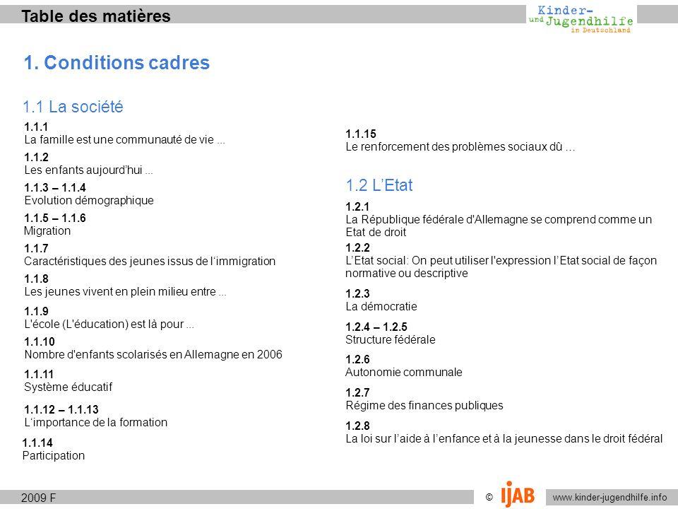 www.kinder-jugendhilfe.info © Table des matières 1. Conditions cadres 1.1 La société 1.1.1 La famille est une communauté de vie... 1.1.2 Les enfants a