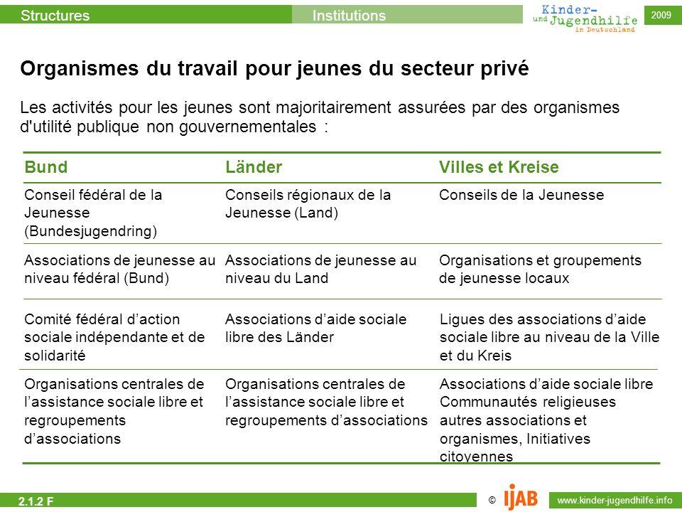 © www.kinder-jugendhilfe.info StructuresInstitutions 2009 Organismes du travail pour jeunes du secteur privé Les activités pour les jeunes sont majori