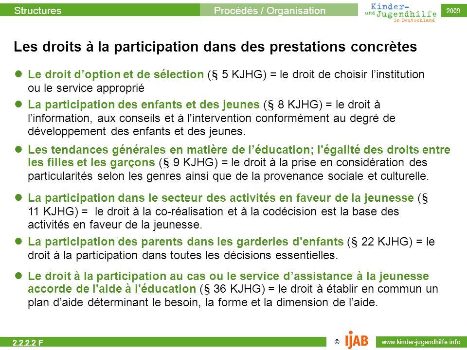 StructuresProcédés / Organisation © www.kinder-jugendhilfe.info 2009 Les droits à la participation dans des prestations concrètes Le droit doption et