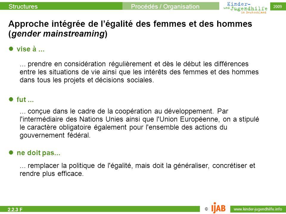 StructuresProcédés / Organisation © www.kinder-jugendhilfe.info 2009 Approche intégrée de légalité des femmes et des hommes (gender mainstreaming) vis
