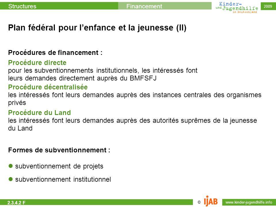 © www.kinder-jugendhilfe.info StructuresFinancement 2009 Plan fédéral pour lenfance et la jeunesse (II) Procédures de financement : Procédure directe