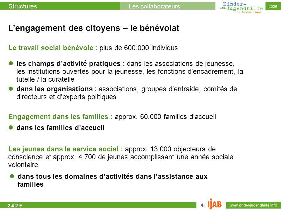 © www.kinder-jugendhilfe.info StructuresLes collaborateurs 2009 Lengagement des citoyens – le bénévolat Le travail social bénévole : plus de 600.000 i