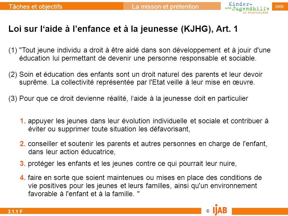 2009 © Tâches et objectifsLa misson et prétention Loi sur laide à lenfance et à la jeunesse (KJHG), Art. 1 (1)