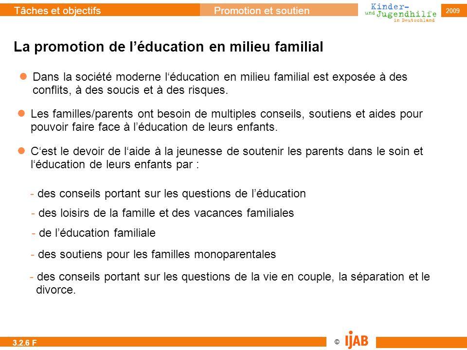 © Tâches et objectifsPromotion et soutien 2009 La promotion de léducation en milieu familial Dans la société moderne léducation en milieu familial est