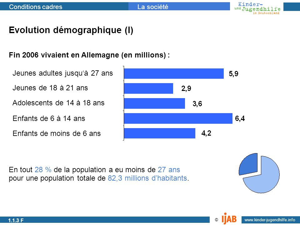 2009 www.kinder-jugendhilfe.info © Conditions cadresLa société 1.1.1a Evolution démographique (I) Fin 2006 vivaient en Allemagne (en millions) : Enfan