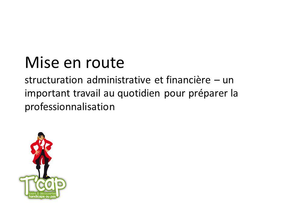 Mise en route structuration administrative et financière – un important travail au quotidien pour préparer la professionnalisation