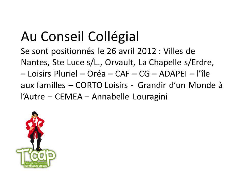 Au Conseil Collégial Se sont positionnés le 26 avril 2012 : Villes de Nantes, Ste Luce s/L., Orvault, La Chapelle s/Erdre, – Loisirs Pluriel – Oréa –