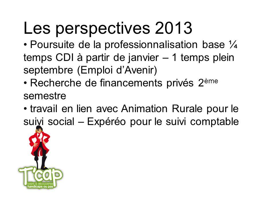 Les perspectives 2013 Poursuite de la professionnalisation base ¼ temps CDI à partir de janvier – 1 temps plein septembre (Emploi dAvenir) Recherche d