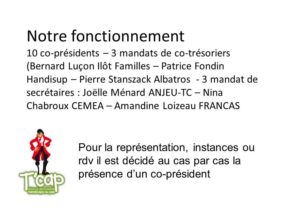 Notre fonctionnement 10 co-présidents – 3 mandats de co-trésoriers (Bernard Luçon Ilôt Familles – Patrice Fondin Handisup – Pierre Stanszack Albatros