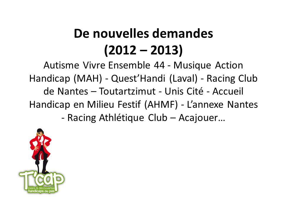 De nouvelles demandes (2012 – 2013) Autisme Vivre Ensemble 44 - Musique Action Handicap (MAH) - QuestHandi (Laval) - Racing Club de Nantes – Toutartzi
