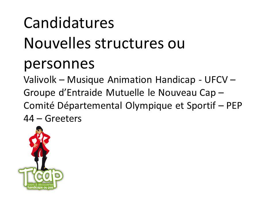 Candidatures Nouvelles structures ou personnes Valivolk – Musique Animation Handicap - UFCV – Groupe dEntraide Mutuelle le Nouveau Cap – Comité Départ