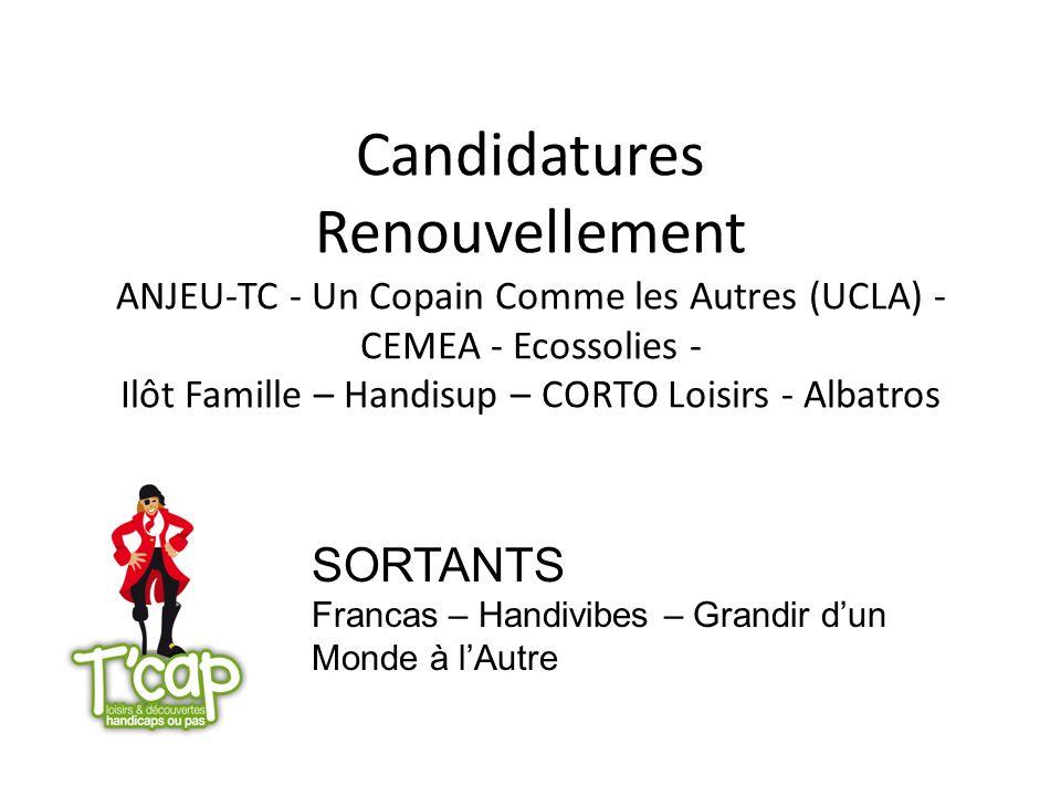 Candidatures Renouvellement ANJEU-TC - Un Copain Comme les Autres (UCLA) - CEMEA - Ecossolies - Ilôt Famille – Handisup – CORTO Loisirs - Albatros SOR