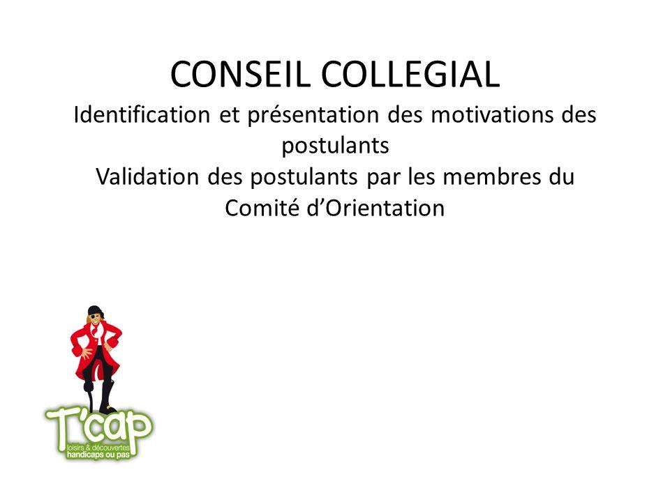 CONSEIL COLLEGIAL Identification et présentation des motivations des postulants Validation des postulants par les membres du Comité dOrientation