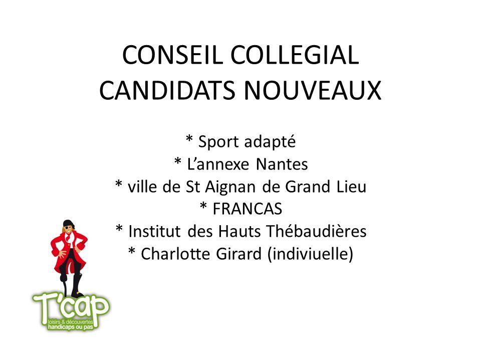 CONSEIL COLLEGIAL CANDIDATS NOUVEAUX * Sport adapté * Lannexe Nantes * ville de St Aignan de Grand Lieu * FRANCAS * Institut des Hauts Thébaudières *