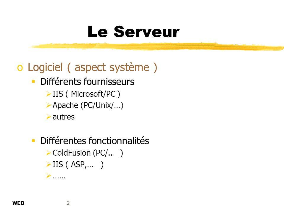 2 Le Serveur WEB oLogiciel ( aspect système ) Différents fournisseurs IIS ( Microsoft/PC ) Apache (PC/Unix/…) autres Différentes fonctionnalités ColdFusion (PC/..