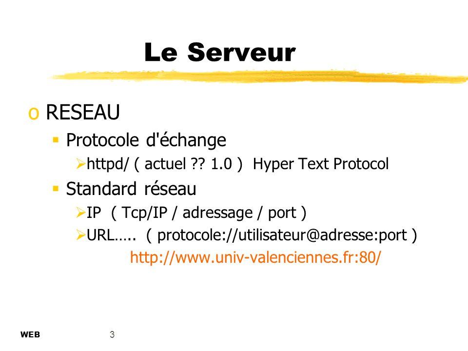 3 Le Serveur oRESEAU Protocole d échange httpd/ ( actuel ?.