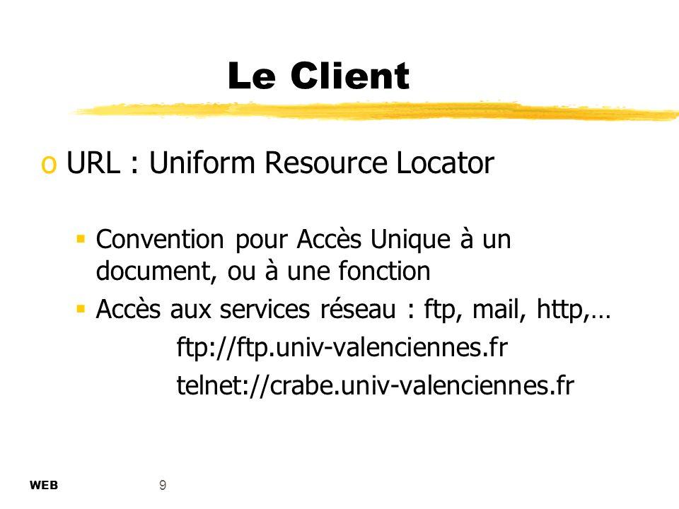 9 Le Client oURL : Uniform Resource Locator Convention pour Accès Unique à un document, ou à une fonction Accès aux services réseau : ftp, mail, http,… ftp://ftp.univ-valenciennes.fr telnet://crabe.univ-valenciennes.fr WEB