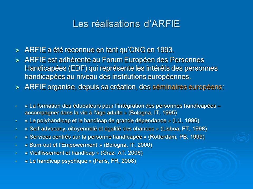 Les réalisations dARFIE ARFIE a été reconnue en tant quONG en 1993. ARFIE a été reconnue en tant quONG en 1993. ARFIE est adhérente au Forum Européen