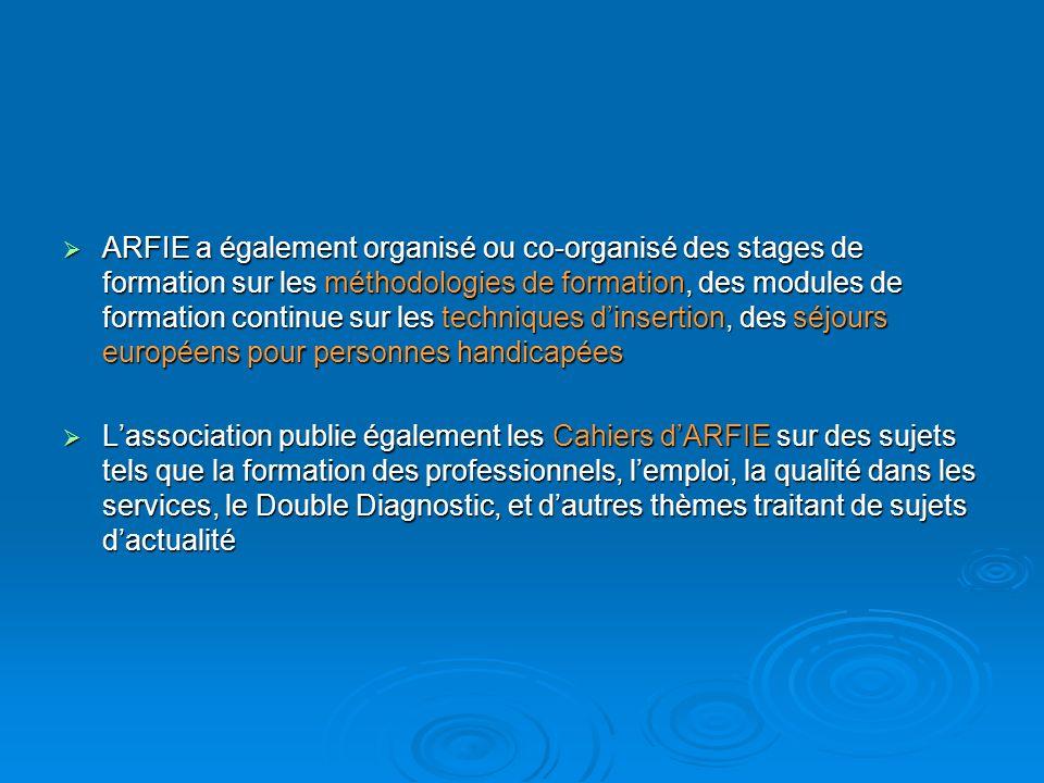 ARFIE a également organisé ou co-organisé des stages de formation sur les méthodologies de formation, des modules de formation continue sur les techni