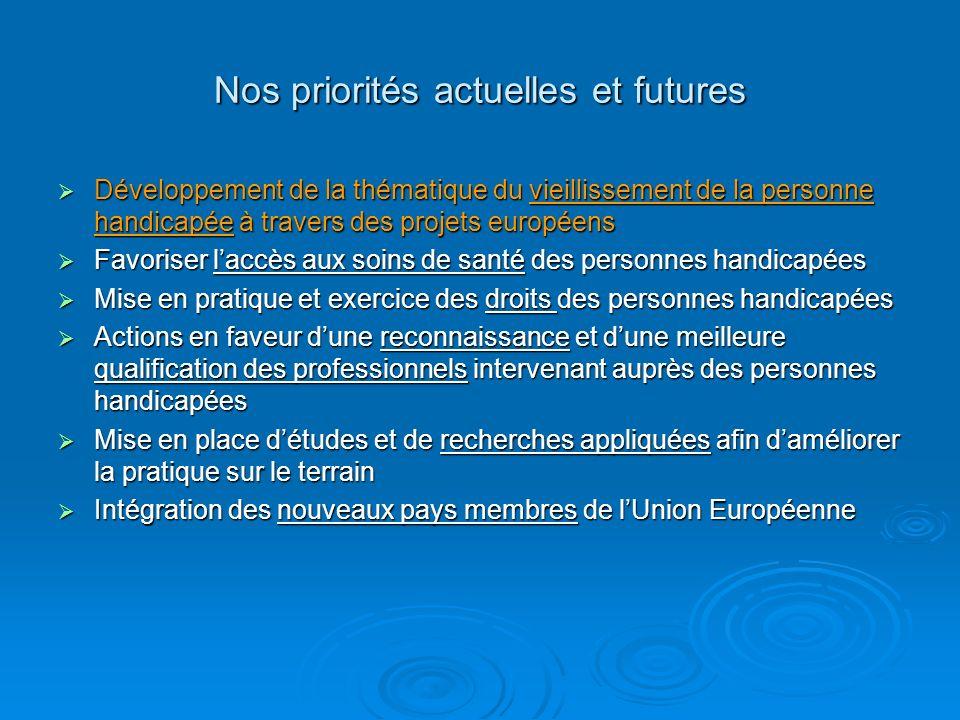 Nos priorités actuelles et futures Développement de la thématique du vieillissement de la personne handicapée à travers des projets européens Développ