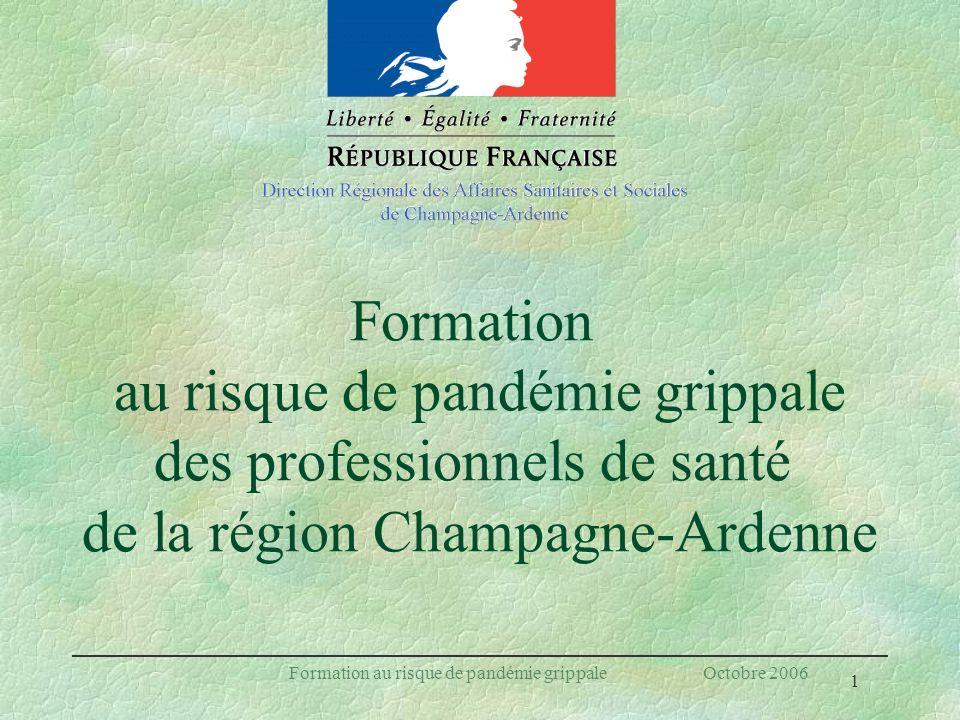 1 Formation au risque de pandémie grippale Octobre 2006 Formation au risque de pandémie grippale des professionnels de santé de la région Champagne-Ar