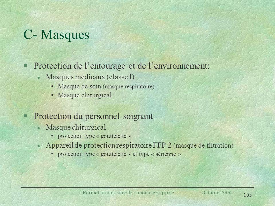 103 Formation au risque de pandémie grippale Octobre 2006 C- Masques §Protection de lentourage et de lenvironnement: l Masques médicaux (classe I) Mas