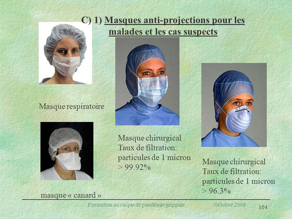 104 Formation au risque de pandémie grippale Octobre 2006 Masque respiratoire Masque chirurgical Taux de filtration: particules de 1 micron > 99.92% M