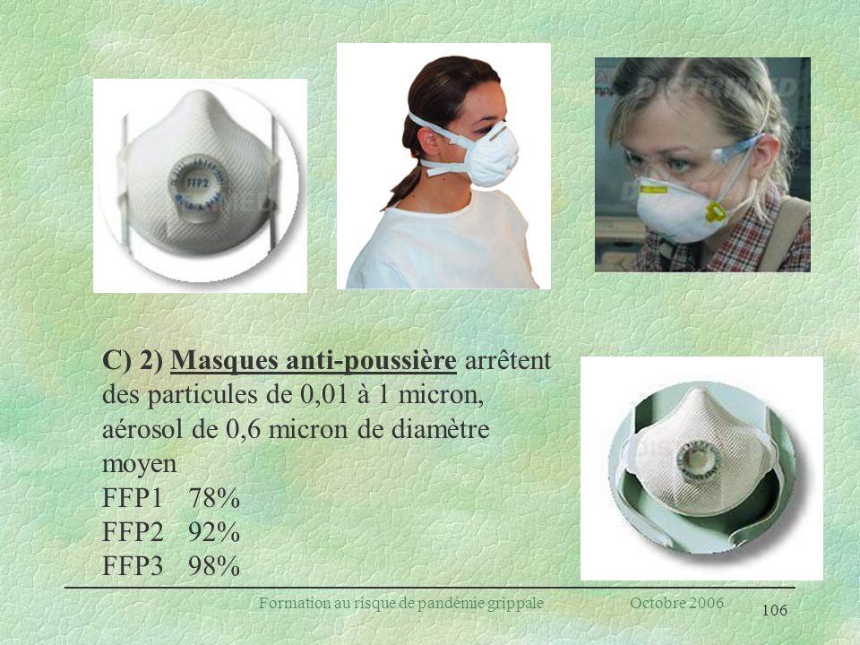 106 Formation au risque de pandémie grippale Octobre 2006 C) 2) Masques anti-poussière arrêtent des particules de 0,01 à 1 micron, aérosol de 0,6 micr