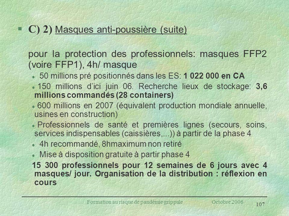 107 Formation au risque de pandémie grippale Octobre 2006 C) 2) Masques anti-poussière (suite) pour la protection des professionnels: masques FFP2 (vo