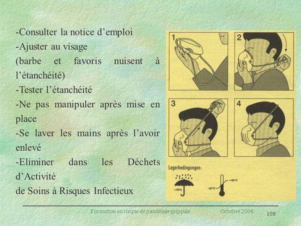 108 Formation au risque de pandémie grippale Octobre 2006 -Consulter la notice demploi -Ajuster au visage (barbe et favoris nuisent à létanchéité) -Te