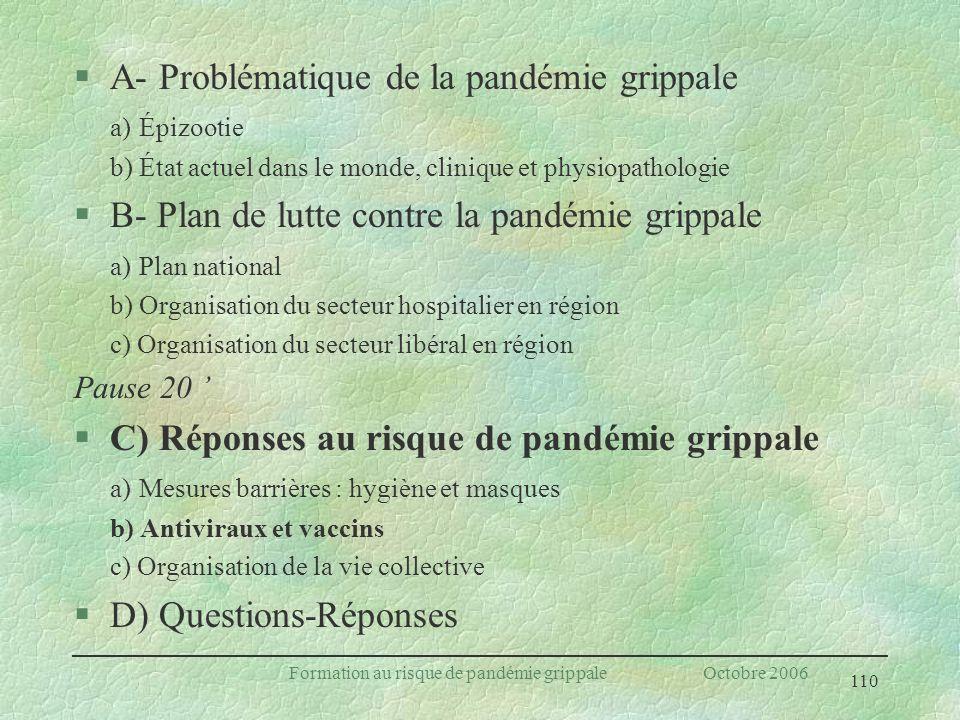110 Formation au risque de pandémie grippale Octobre 2006 §A- Problématique de la pandémie grippale a) Épizootie b) État actuel dans le monde, cliniqu