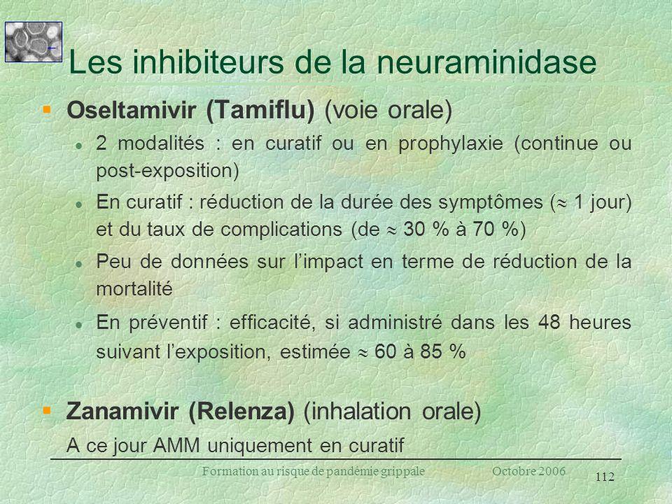 112 Formation au risque de pandémie grippale Octobre 2006 Les inhibiteurs de la neuraminidase §Oseltamivir (Tamiflu) (voie orale) l 2 modalités : en c