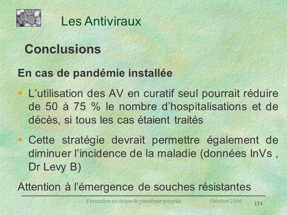 114 Formation au risque de pandémie grippale Octobre 2006 Conclusions En cas de pandémie installée §Lutilisation des AV en curatif seul pourrait rédui