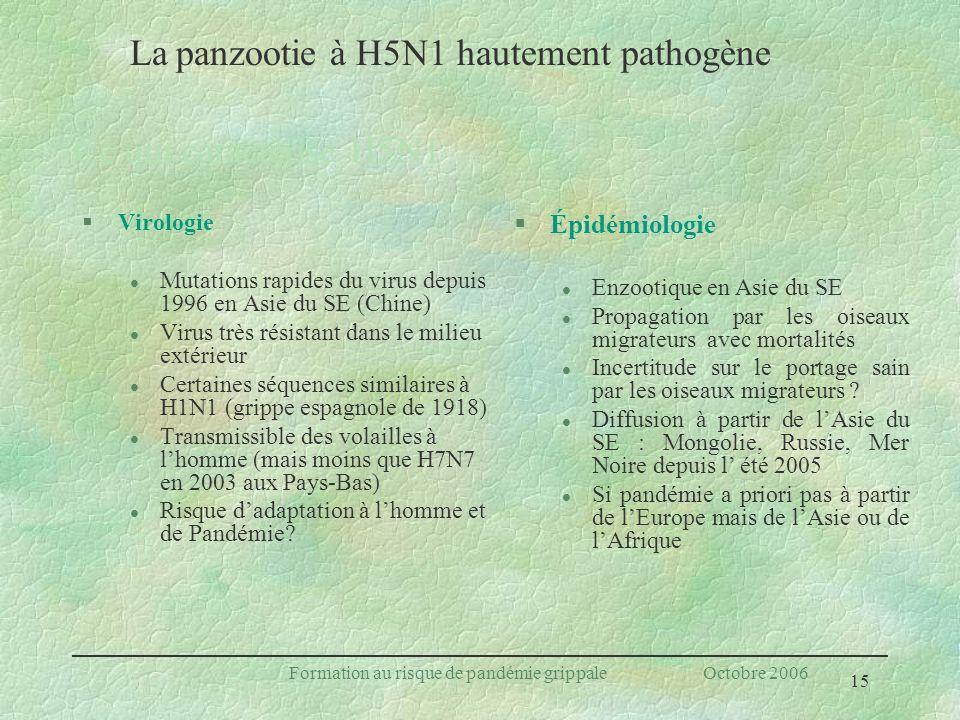 15 Formation au risque de pandémie grippale Octobre 2006 Ce qui caractérise H5N1 §Virologie l Mutations rapides du virus depuis 1996 en Asie du SE (Ch