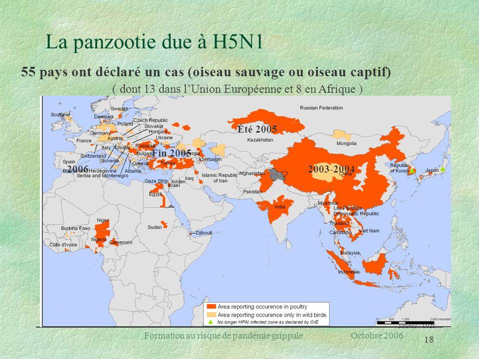 18 Formation au risque de pandémie grippale Octobre 2006 La panzootie due à H5N1 Source : OMS 2006 Fin 2005 Été 2005 2003-2004 55 pays ont déclaré un