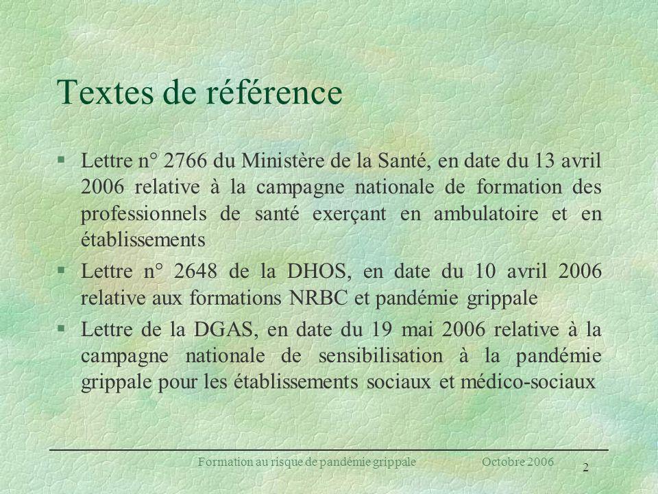 2 Formation au risque de pandémie grippale Octobre 2006 Textes de référence §Lettre n° 2766 du Ministère de la Santé, en date du 13 avril 2006 relativ