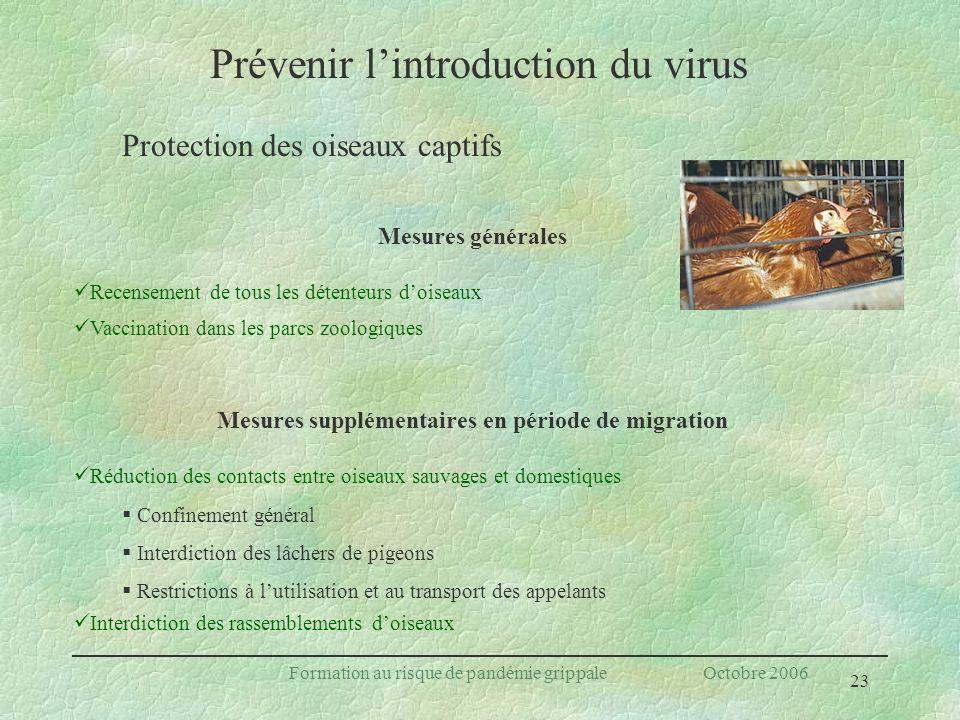 23 Formation au risque de pandémie grippale Octobre 2006 Mesures générales Recensement de tous les détenteurs doiseaux Vaccination dans les parcs zool