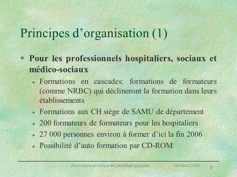 3 Formation au risque de pandémie grippale Octobre 2006 Principes dorganisation (1) §Pour les professionnels hospitaliers, sociaux et médico-sociaux l