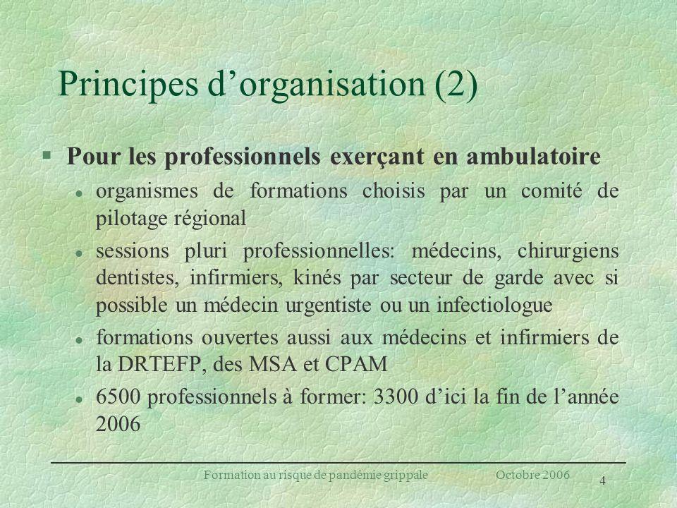 4 Formation au risque de pandémie grippale Octobre 2006 Principes dorganisation (2) §Pour les professionnels exerçant en ambulatoire l organismes de f