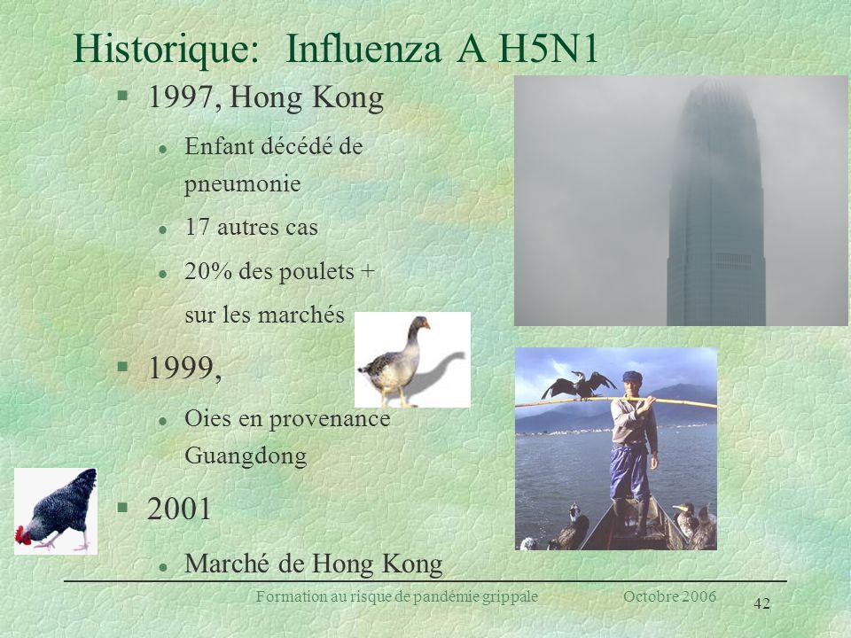 42 Formation au risque de pandémie grippale Octobre 2006 Historique: Influenza A H5N1 §1997, Hong Kong l Enfant décédé de pneumonie l 17 autres cas l