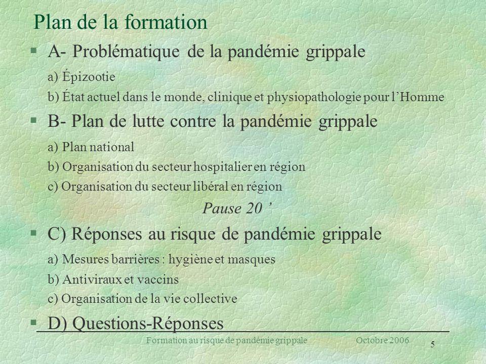 5 Formation au risque de pandémie grippale Octobre 2006 Plan de la formation §A- Problématique de la pandémie grippale a) Épizootie b) État actuel dan