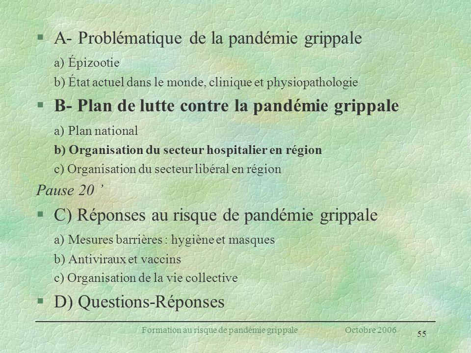 55 Formation au risque de pandémie grippale Octobre 2006 §A- Problématique de la pandémie grippale a) Épizootie b) État actuel dans le monde, clinique