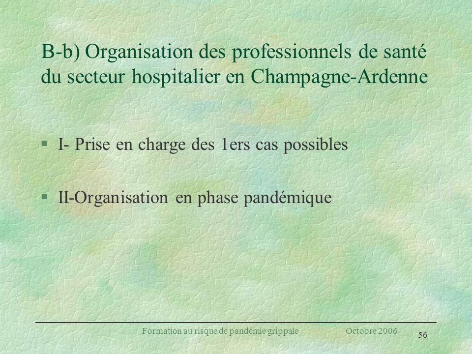 56 Formation au risque de pandémie grippale Octobre 2006 B-b) Organisation des professionnels de santé du secteur hospitalier en Champagne-Ardenne §I-