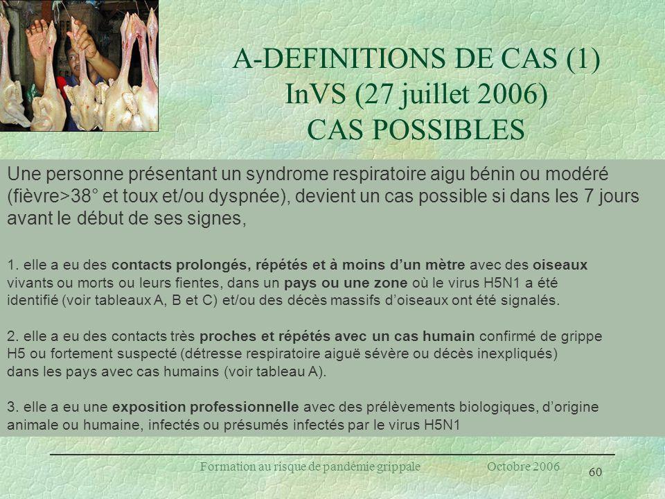 60 Formation au risque de pandémie grippale Octobre 2006 A-DEFINITIONS DE CAS (1) InVS (27 juillet 2006) CAS POSSIBLES Une personne présentant un synd