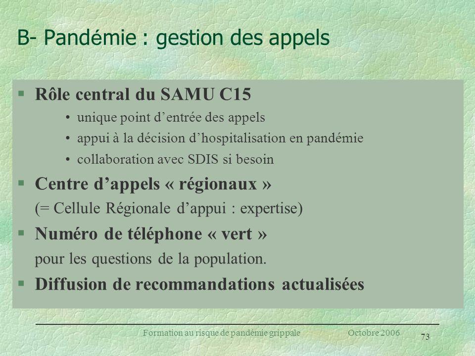 73 Formation au risque de pandémie grippale Octobre 2006 §Rôle central du SAMU C15 unique point dentrée des appels appui à la décision dhospitalisatio