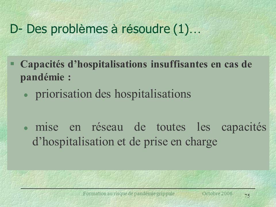 75 Formation au risque de pandémie grippale Octobre 2006 D- Des probl è mes à r é soudre (1) … §Capacités dhospitalisations insuffisantes en cas de pa