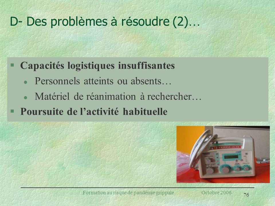 76 Formation au risque de pandémie grippale Octobre 2006 D- Des probl è mes à r é soudre (2) … §Capacités logistiques insuffisantes l Personnels attei