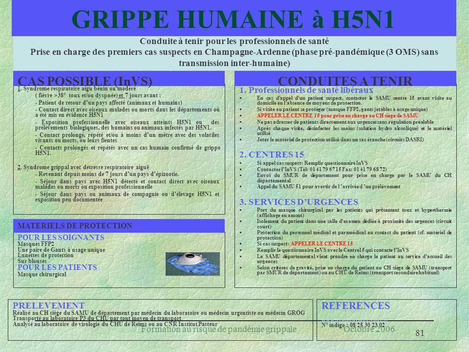 81 Formation au risque de pandémie grippale Octobre 2006 Conduite à tenir pour les professionnels de santé Prise en charge des premiers cas suspects e