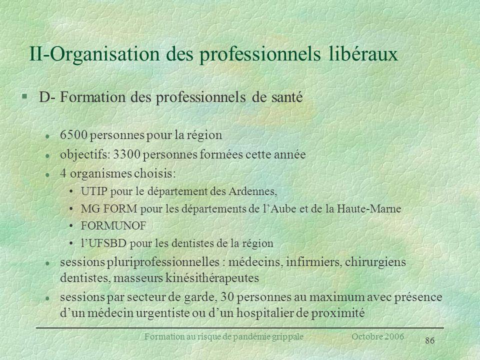 86 Formation au risque de pandémie grippale Octobre 2006 II-Organisation des professionnels libéraux §D- Formation des professionnels de santé l 6500