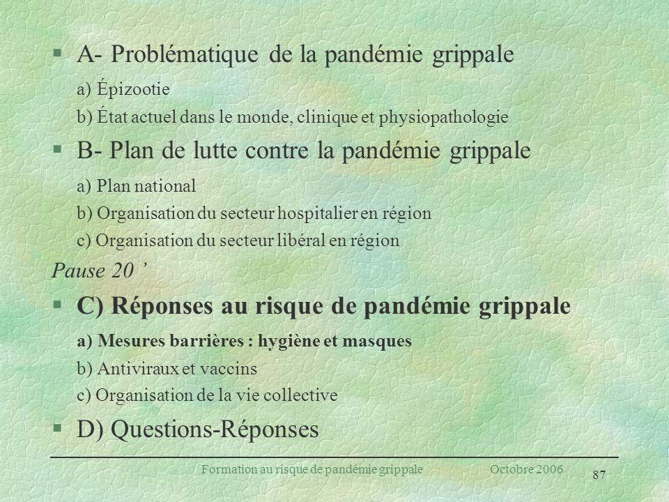 87 Formation au risque de pandémie grippale Octobre 2006 §A- Problématique de la pandémie grippale a) Épizootie b) État actuel dans le monde, clinique